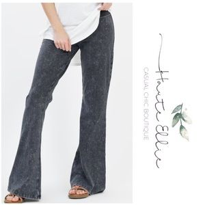 CHER- Mineral Wash Flare Leg Pants